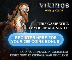 Vikings War of Clans - Tilmeld dig nu og få 200 mønter i bonus